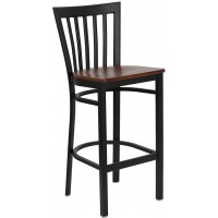 Flash Furniture XU-DG6R8BSCH-BAR-CHYW-GG Hercules Series Black School House Back Metal Restaurant Barstool - Cherry Wood Seat