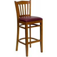 Flash Furniture XU-DGW0008BARVRT-CHY-BURV-GG Hercules Series Vertical Slat Back Cherry Wood Restaurant Barstool - Burgundy Vinyl Seat