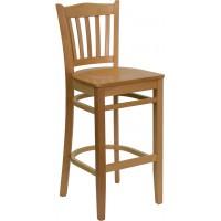 Flash Furniture XU-DGW0008BARVRT-NAT-GG Hercules Series Vertical Slat Back Natural Wood Restaurant Barstool