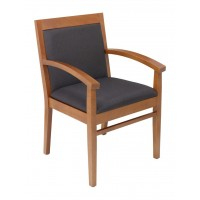 Florida Seating Tea Indoor Office Chair with Solid Espresso Fabric Seat and Back - Cherry Wood Finish