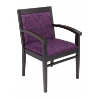 Florida Seating Tea Indoor Office Chair with Purple Pattern Fabric Seat and Back - Walnut Wood Finish