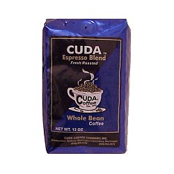 Cuda Coffee Espresso Blend Fresh Roasted Whole Bean Gourmet Coffee 1lb