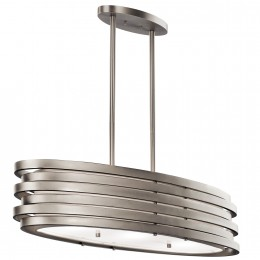 Kichler 43303NI Brushed Nickel Roswell 3-Bulb Indoor Oval Chandelier