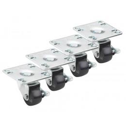 Krowne 28-110S - Low Profile 4 x 4 Plate Caster, 2in Wheel, Set of 4
