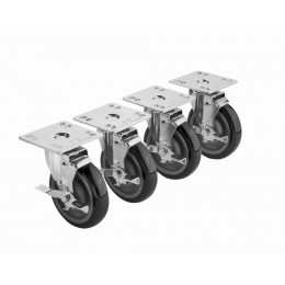 Krowne 28-111S - 3-1/2in x 3-1/2in Plate Caster, 5in Wheel, Set of 4