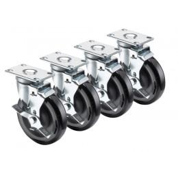 Krowne 28-113S - 2-3/8in x 3-5/8in Plate Caster, 5in Wheel, Set of 4