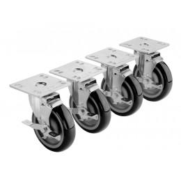 Krowne 28-120S - 4 x 4 Heavy Duty Plate Caster, 5in Wheel, Set of 4