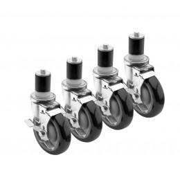 Krowne 28-125S - 1-5/8in Stem Caster, 3in Wheel, Set of 4