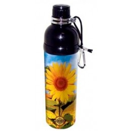Stainless Steel Water Bottle 24 oz Sunflower Black