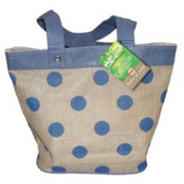 Fully laminated Jute Bags with pockets Blue Dots