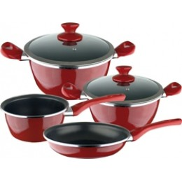 Magefesa Fit Porcelain On Steel Non-Stick 6 Piece Cookware Set Red