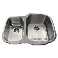 Polaris Offset Double Bowl Stainless Steel Sink 18 Gauge