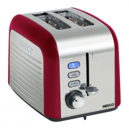 Nesco T1000-12 Two Slice Toaster, 1000 Watt, Red/Chrome