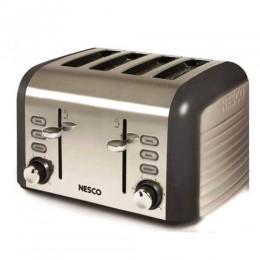 Nesco T1600-13 Four Slice Toaster, 1600 Watt, Stainless Steel/Grey