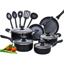Neway International 15 Piece Non stick Aluminum Soft handle Cookware