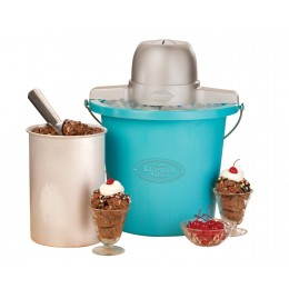 Nostalgia Blue Plastic Bucket Ice Cream Maker 4-QT