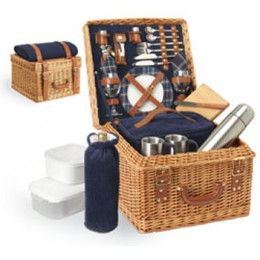 Canterbury English Style Willow Basket Premium Picnic Service for 2