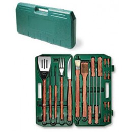 Picnic Time 18 Piece BBQ Set w/ Wooden Handles in Green Plastic Case