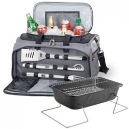 Picnic Time Buccaneer Insulated Cooler Tote w/ 3pc BBQ Tools and Grill