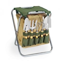 Gardener Folding Seat w/ Polyester Tote & 5pc Garden Tools