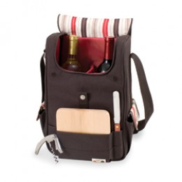 Picnic Time Volare Insulated Two-Bottle Wine and Cheese Tote Moka