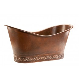 Premier Copper BTN67DB 67in Hammered Copper Double Slipper Bathtub