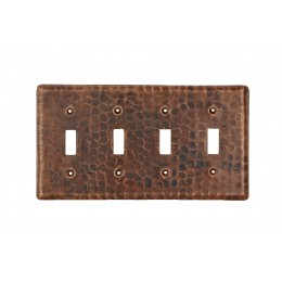 Premier Copper ST4 Copper Switchplate Quadruple Toggle Switch Cover