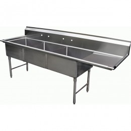 GSW 3 Compartment Sink 18in x 18in x 12in Tubs 18in Right Drainboard