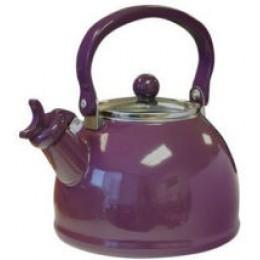 Reston Lloyd 60502 Whistling Tea Kettles w/Glass Lid 2.5 Qt Plum
