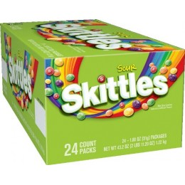 Skittles Sours, 1.8 oz Each, 12 Boxes of 24 Bags, 288 Total