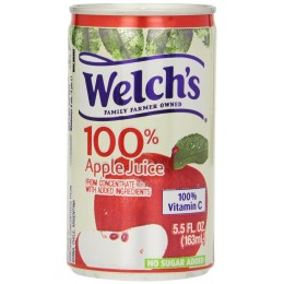 Welch's 100% Apple Juice, 5.5 oz Each, 48 Cans Total