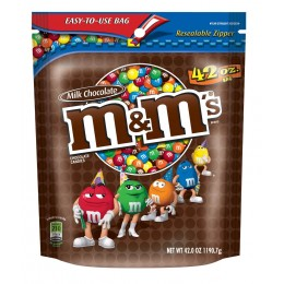 M & M's Milk Chocolate Stand Up Pouch, 42 oz Each, 6 Bags Total